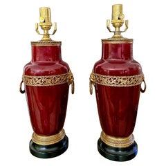Pair Oxblood Sang De Boeuf Ormolu Porcelain Table Lamps