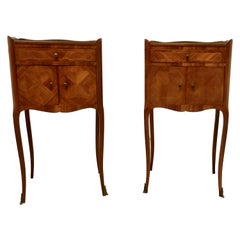 Pair of French Satin Walnut Bedside Cabinets