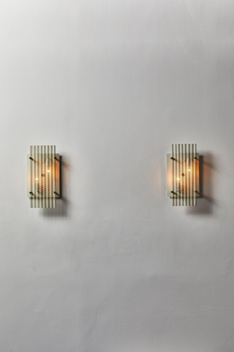 Mid-Century Modern Pair of French Sconces For Sale