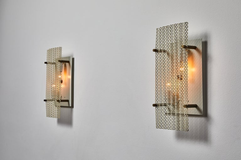 Aluminum Pair of French Sconces For Sale
