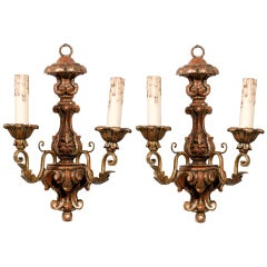 Pair of French Mid 18th Century Rococo Period Giltwood Two-Light Sconces