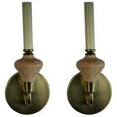 Pair of French Sconces with Acid Etched Daum Glass Cups