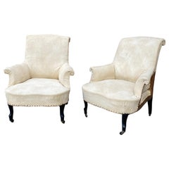 Pair of French Scrolled Back Armchairs