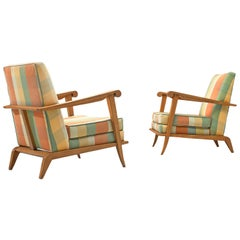 Pair of French Sculptural Lounge Chairs in Oak and Fabric