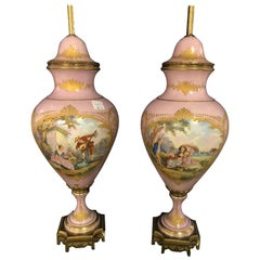 Pair of French Sevres Marked Monumental Pink Lidded Urn Table Lamps Signed