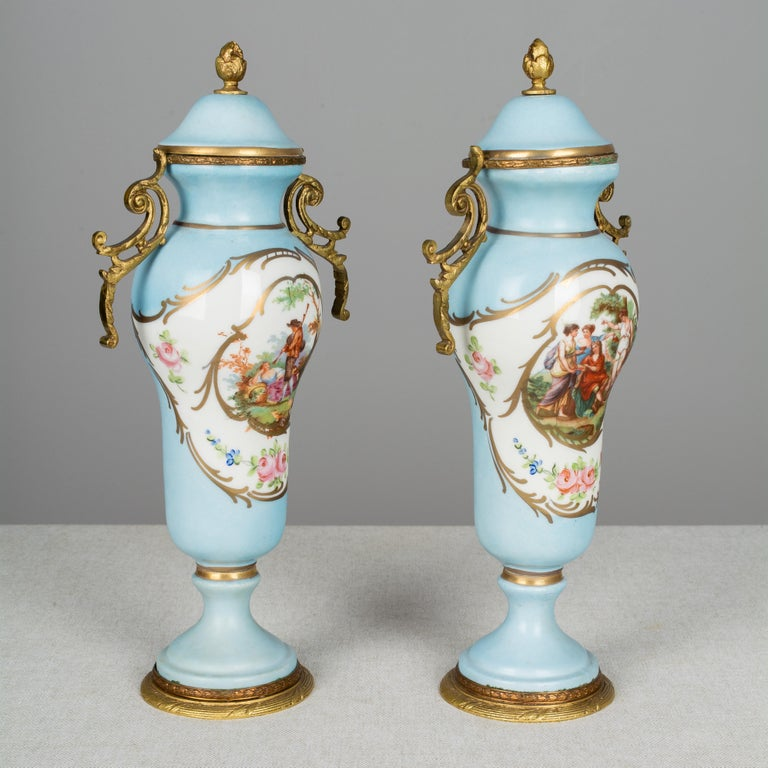 19th Century Pair of French Sèvres Porcelain Urns For Sale