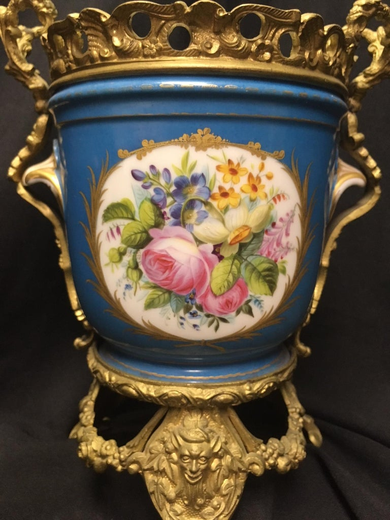 19th Century Pair of French Sevres Style Ormolu-Mounted Porcelain Planters For Sale