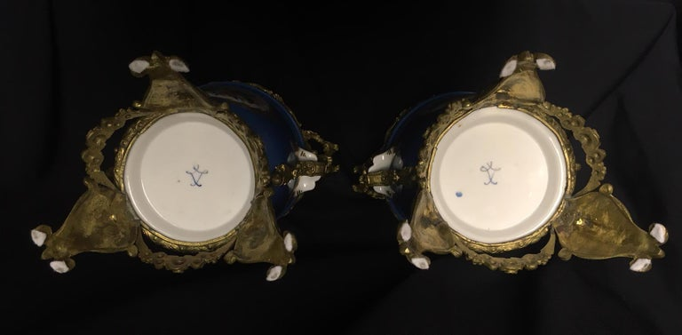 Pair of French Sevres Style Ormolu-Mounted Porcelain Planters For Sale 3