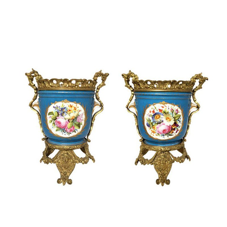 Pair of French Sevres Style Ormolu-Mounted Porcelain Planters For Sale