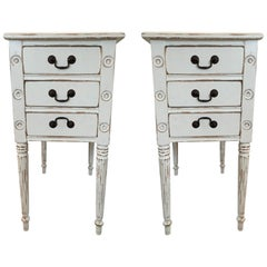 Pair of French or Shabby Chic Nightstands