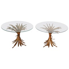 Pair of French Sheaf of Wheat Side Tables