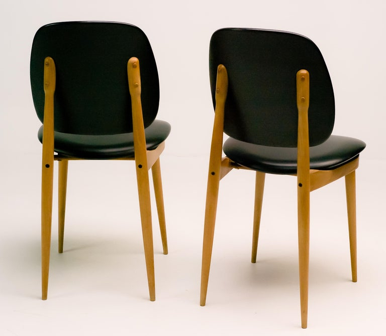 Mid-Century Modern Pair of French Side Chairs For Sale
