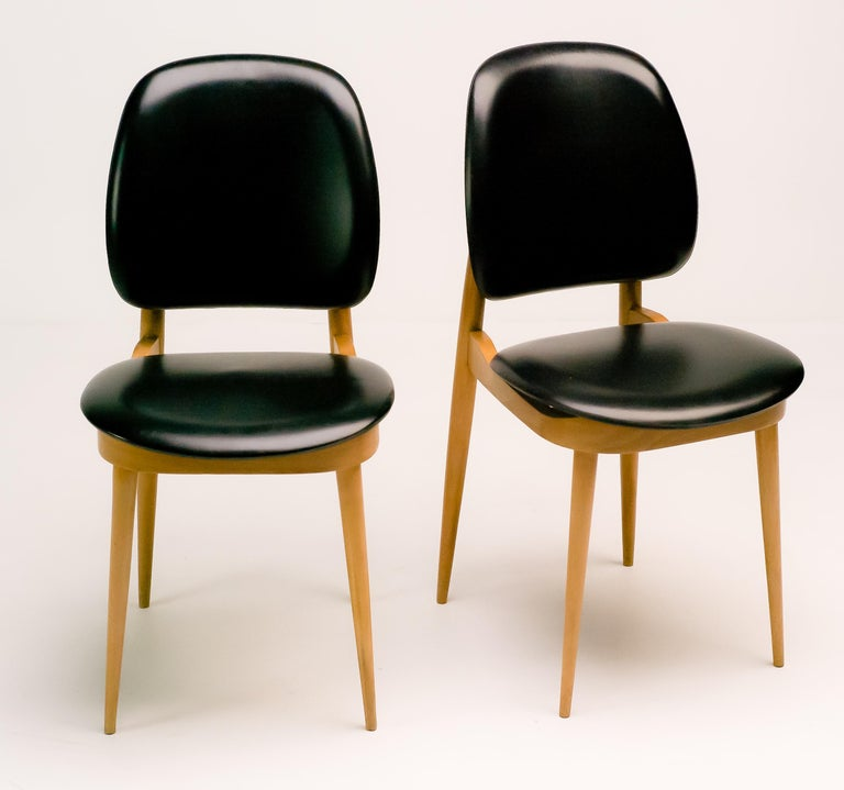 Naugahyde Pair of French Side Chairs For Sale