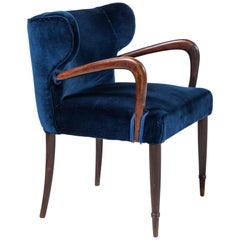 Pair of French Side Chairs in Navy Blue Velvet