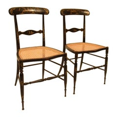 Pair of French Side Chairs with Chinoiserie Details