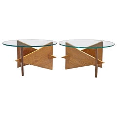 Pair of French Side Tables in Oak and Glass