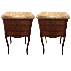 Pair of French Side Tables or Nightstands with Marble Tops, 19th Century