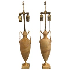 Pair of French Sienna Marble Lamps