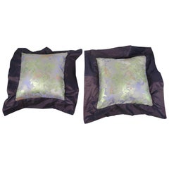 Pair of French Silk Flange Pillows