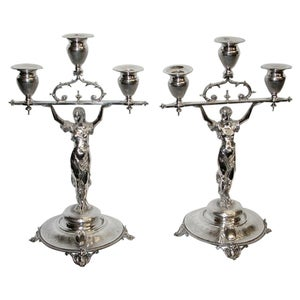 Pair of French Silver 3-Light Candelabra, Dated circa 1860