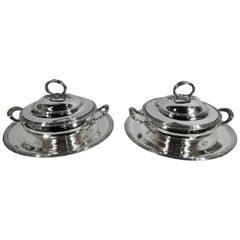 Pair of French Silver Classical Covered Vegetable Dishes on Stands