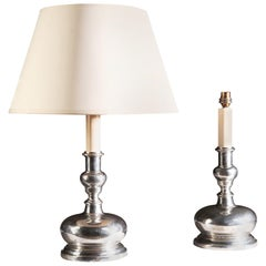 Pair of French Silver Double Gourd Candlestick Table Lamps