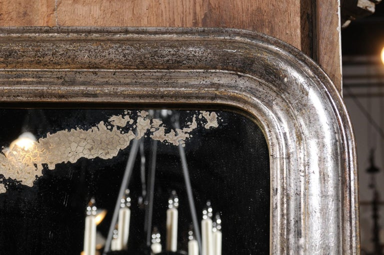Pair of French Silver Gilt Louis-Philippe 19th Century Mirrors with Aged Patina 12