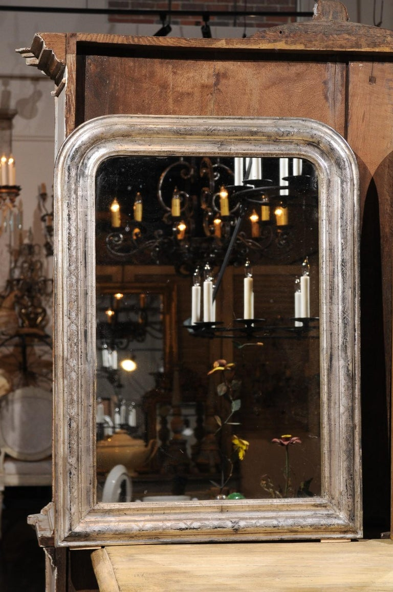 Pair of French Silver Gilt Louis-Philippe 19th Century Mirrors with Aged Patina 18