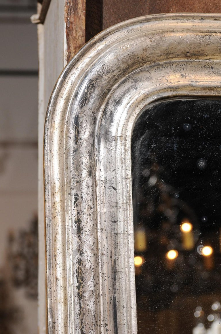 Pair of French Silver Gilt Louis-Philippe 19th Century Mirrors with Aged Patina 9