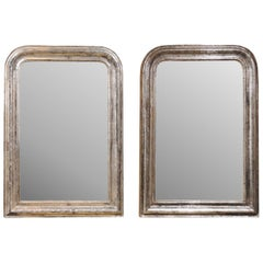 Pair of French Silver Gilt Louis-Philippe 19th Century Mirrors with Aged Patina