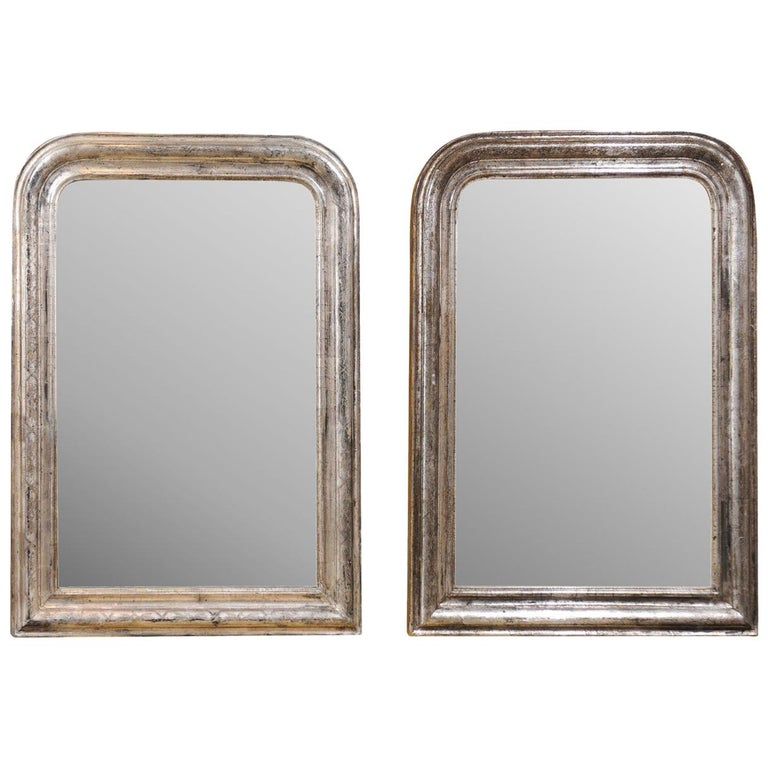 Pair of French Silver Gilt Louis-Philippe 19th Century Mirrors with Aged Patina 1