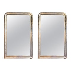 Pair of French Silver Leaf Louis Philippe Mirrors with X Pattern
