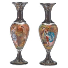 Pair of French Silver & Limoges Enamel Vases, Retailed by Tiffany & Co.