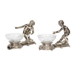 Pair of French Silvered Bronze and Glass Centerpieces with Cherubs
