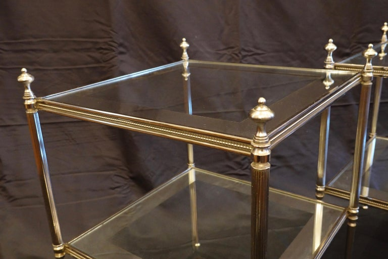 Pair of French Silvered-Bronze Two-Tiered Side Tables with Glass Tops For Sale 4