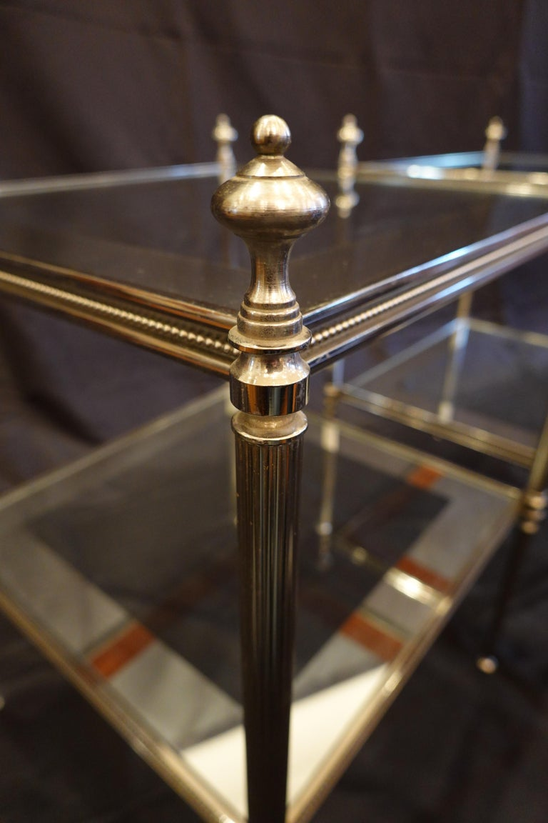 Pair of French Silvered-Bronze Two-Tiered Side Tables with Glass Tops For Sale 6