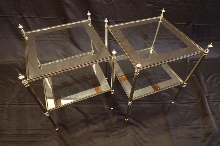 Pair of French Silvered-Bronze Two-Tiered Side Tables with Glass Tops In Good Condition For Sale In Charleston, SC