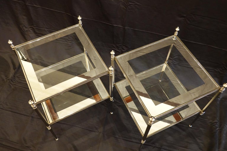 Pair of French Silvered-Bronze Two-Tiered Side Tables with Glass Tops For Sale 1