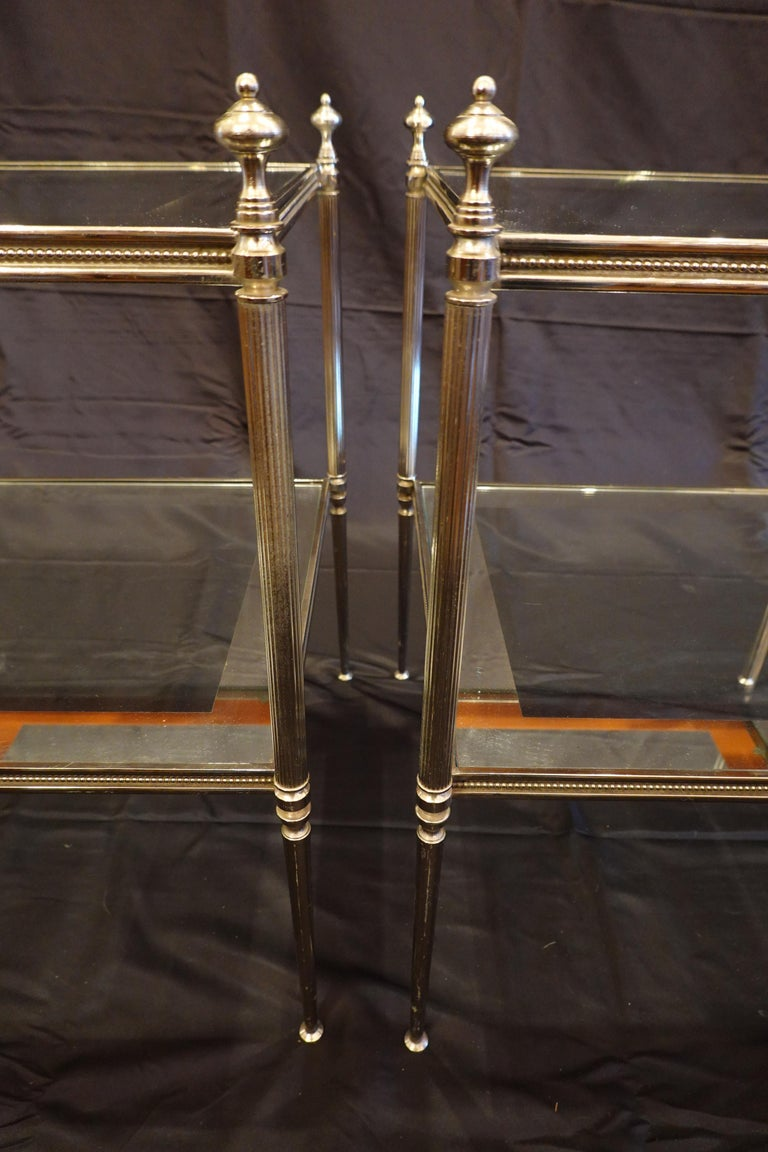 Pair of French Silvered-Bronze Two-Tiered Side Tables with Glass Tops For Sale 2
