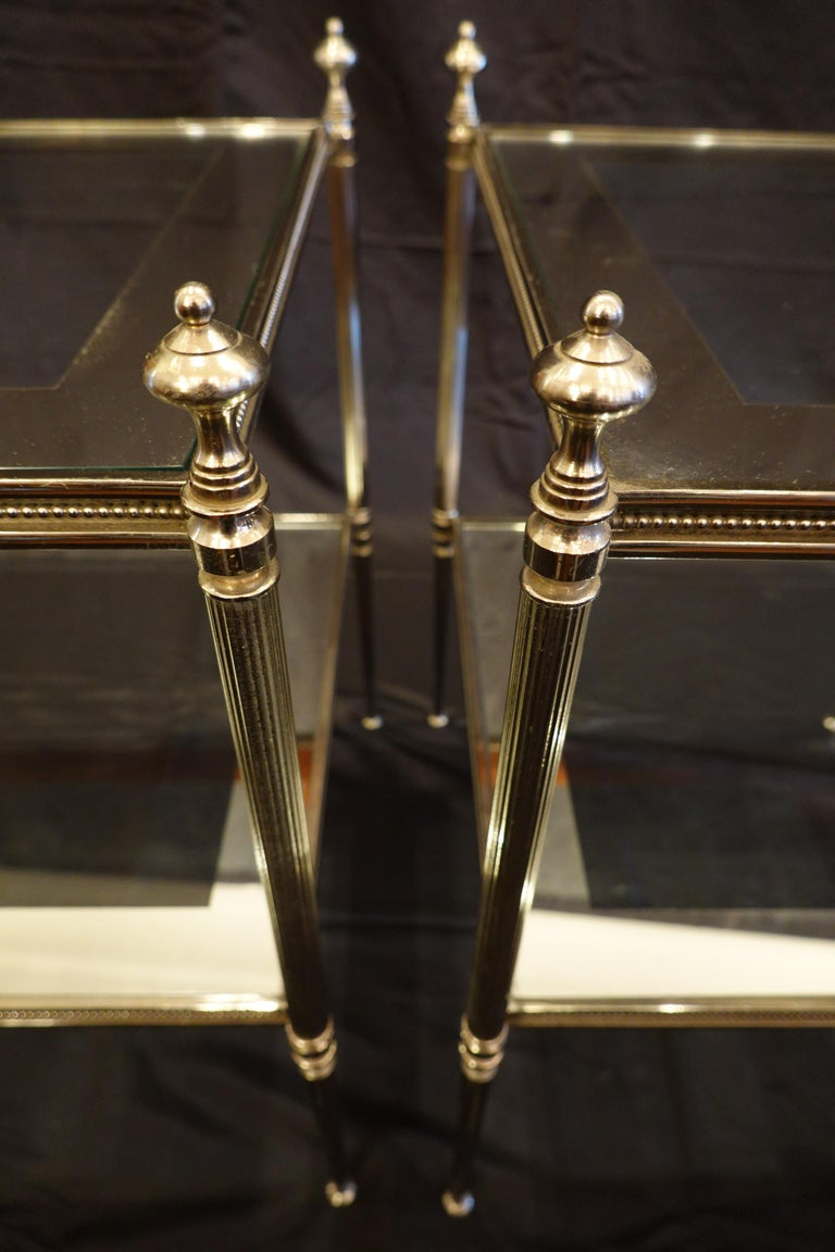 Pair of French Silvered-Bronze Two-Tiered Side Tables with Glass Tops For Sale 3