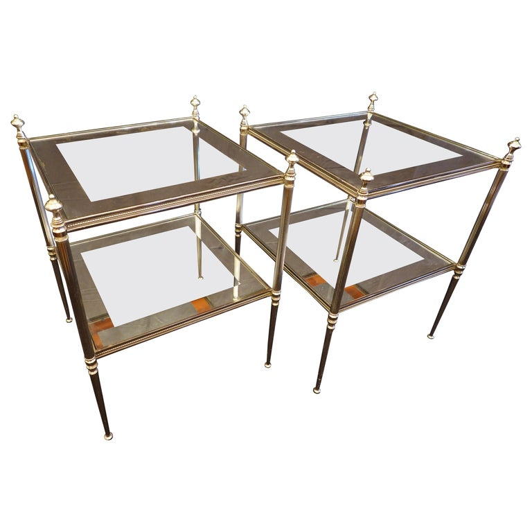 Pair of French Silvered-Bronze Two-Tiered Side Tables with Glass Tops For Sale
