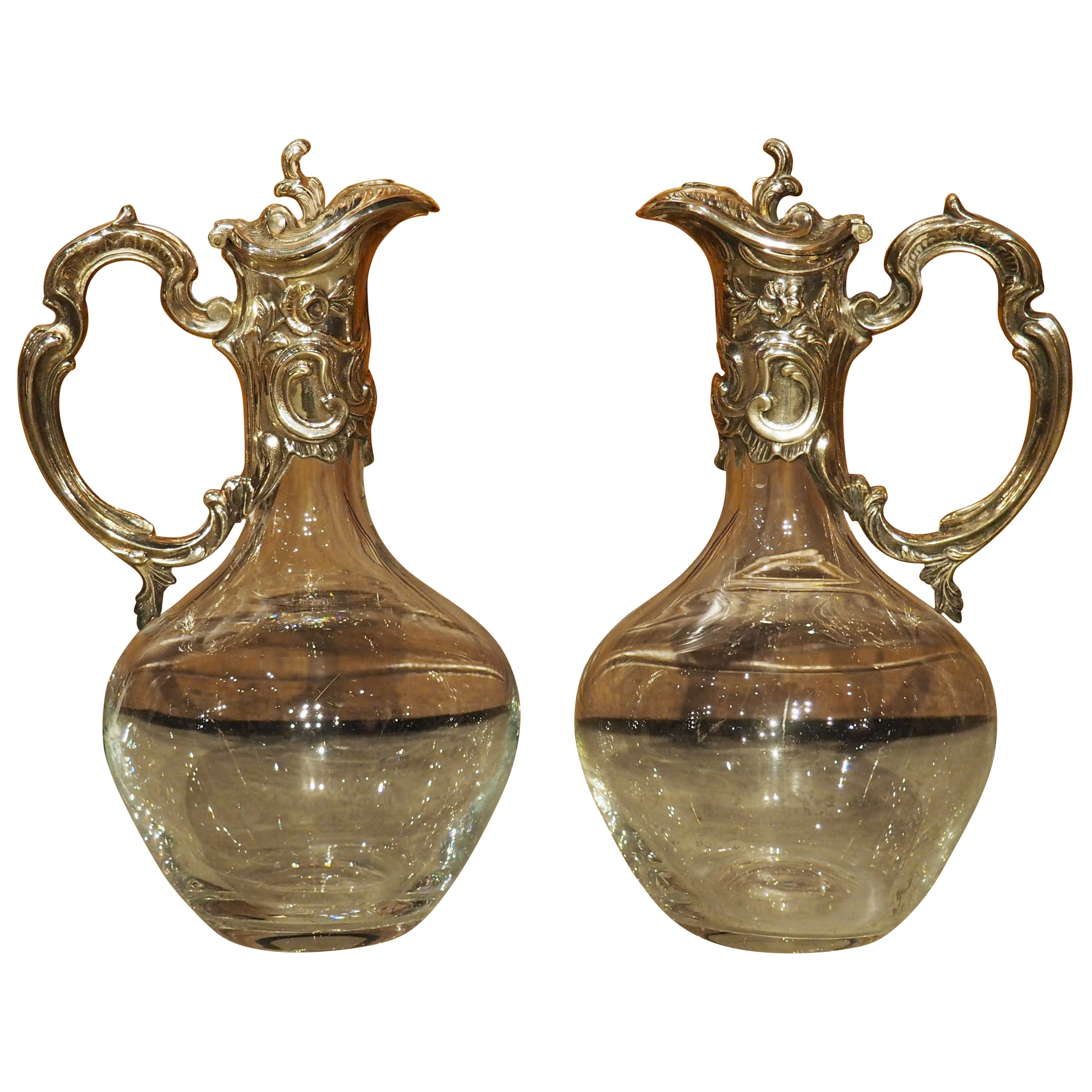 Pair of French Silverplate Mounted Wine Ewers, circa 1920