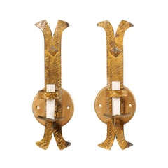 Pair of French Single-Light Gold-Tone Iron Sconces with Textured Finish
