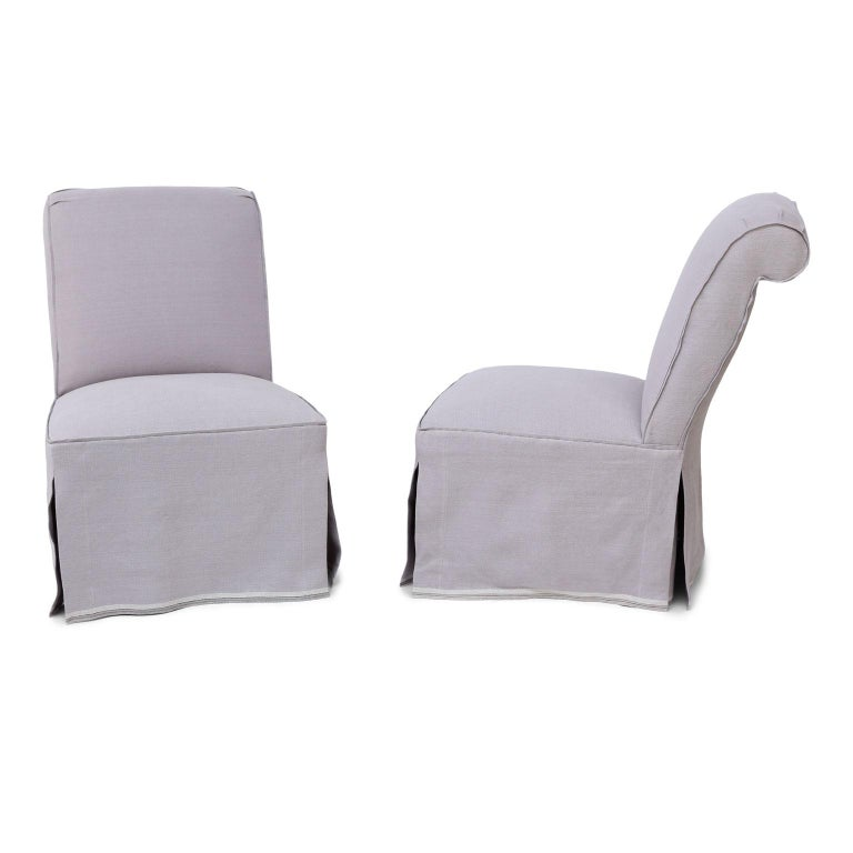 Napoleon III Pair of French Slipper Chairs in Lavender Linen
