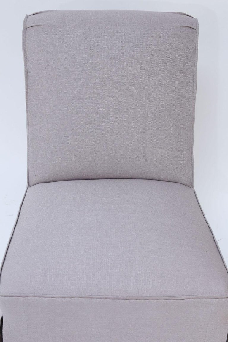 Pair of French Slipper Chairs in Lavender Linen In Good Condition In Houston, TX
