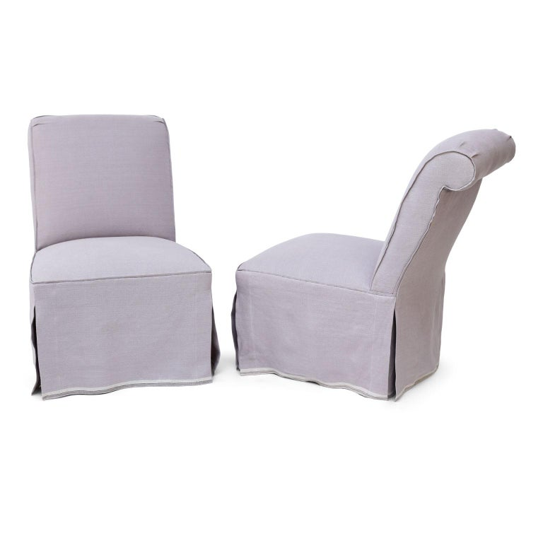 Brass Pair of French Slipper Chairs in Lavender Linen