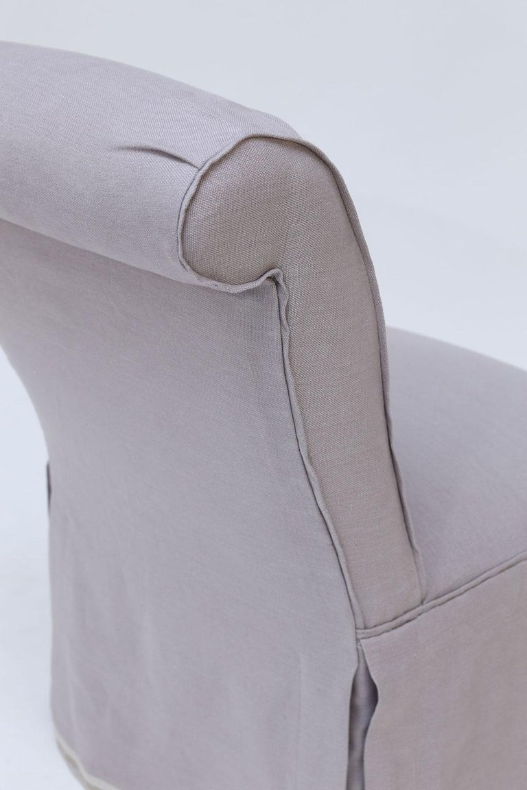 Pair of French Slipper Chairs in Lavender Linen 2