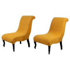 Pair of French Slipper Chairs in Gold Linen