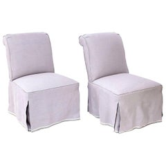 Pair of French Slipper Chairs in Lavender Linen