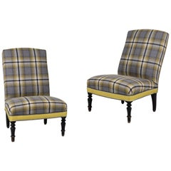 Pair of French Slipper Chairs in Yellow and Grey Plaid